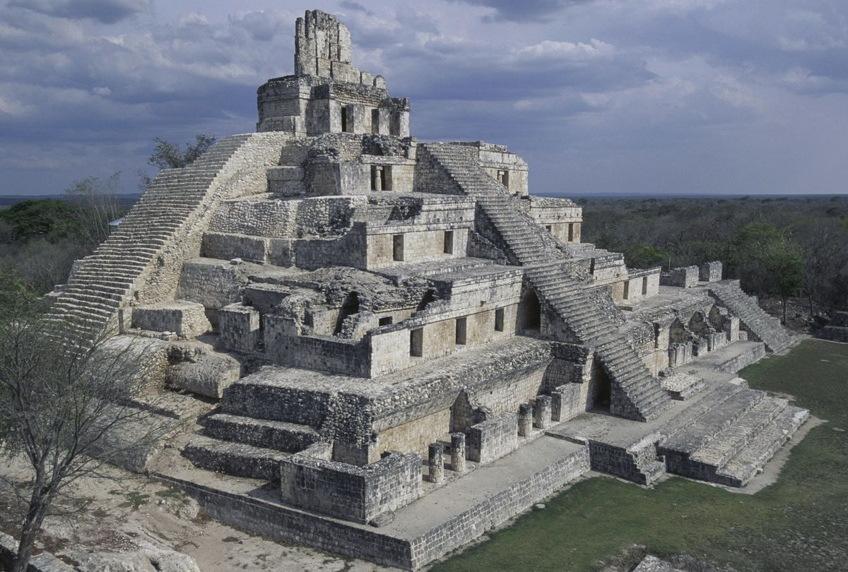 The Pyramid of the Five Storeys in Edzna, Mexico, a temple of the Mayan civilization.