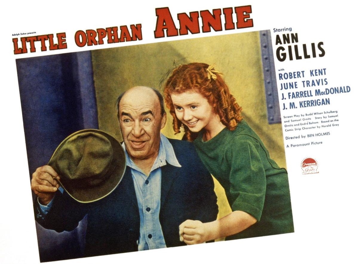 Little Orphan Annie, US lobbycard, from left: J. Farrell MacDonald, Ann Gillis, 1938.