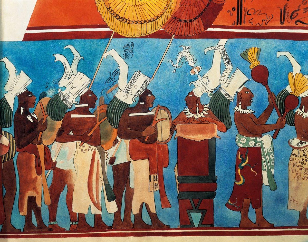 Maya civilization, Mexico, 9th century A.D. Reconstruction of Bonampak frescoes.