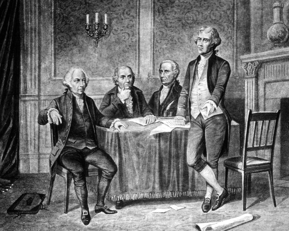 TIllustration showing leaders of the Continental Congress, from left to right, John Adams, Robert Morris, Alexander Hamilton, and Thomas Jefferson