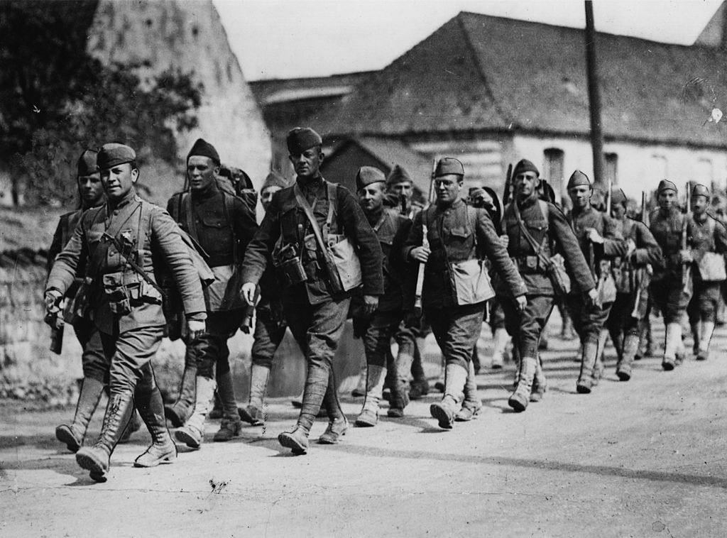 American infantry soldiers on the march towards the Rhine