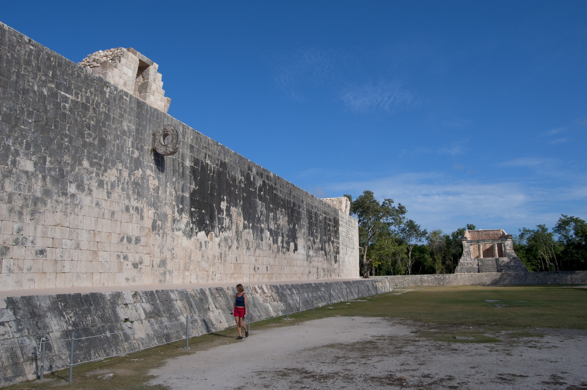 Mexico, Yucatan Peninsula, Near Cancun, Maya Ruins Of Chichen Itza, The Great Ball Court With The Bearded Man Temple In Background, Tourist.