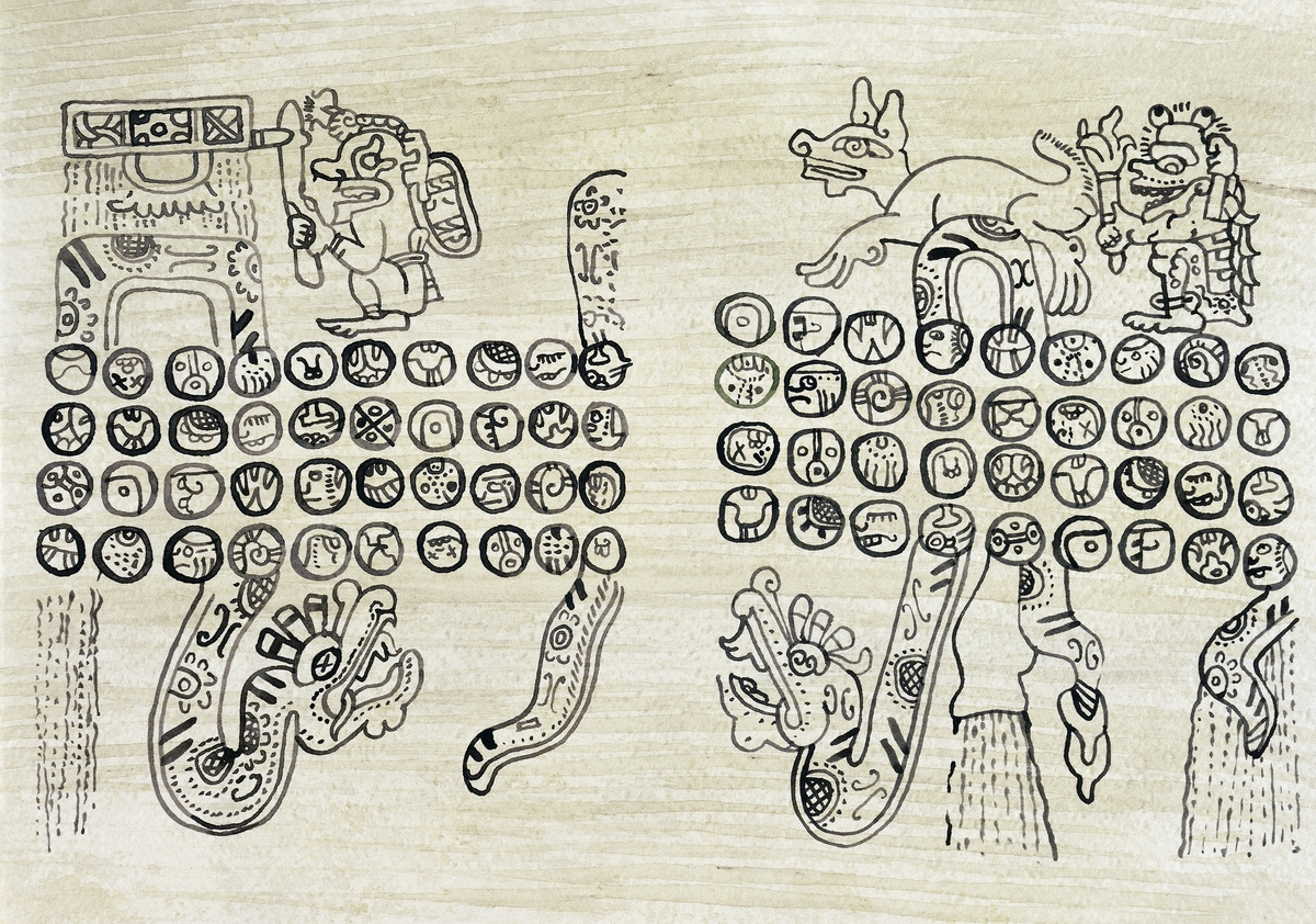 Divinatory almanac in Mayan writing, drawing, reproduction of pages from the Madrid Codex, also known as Tro-Cortesianus Codex.