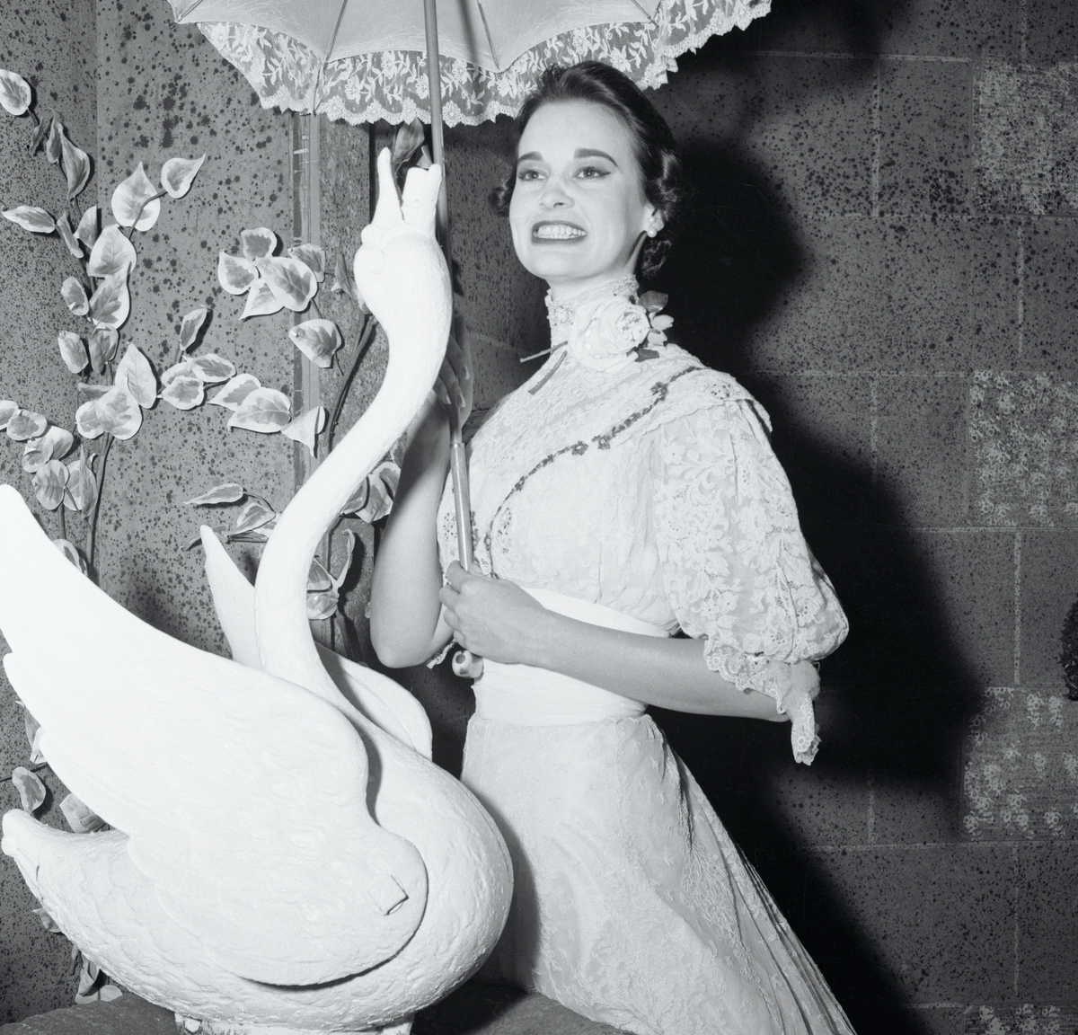 Heiress and stage actress Gloria Vanderbilt wearing her third act costume after her performance in The Swan by Ferenc Moldar.