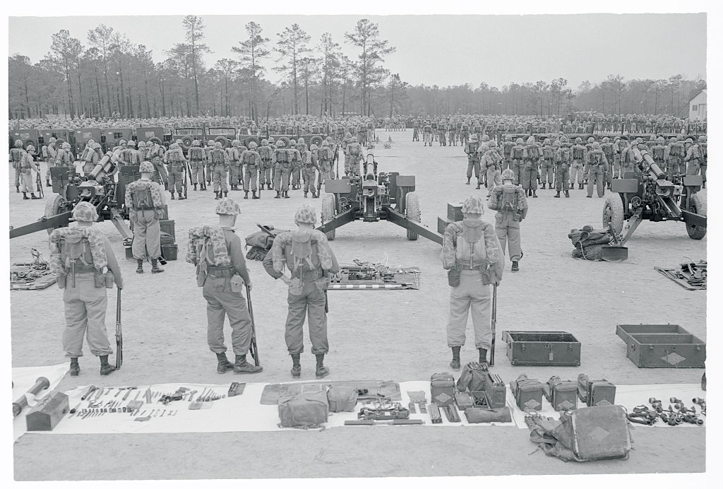 Military men standing at attention
