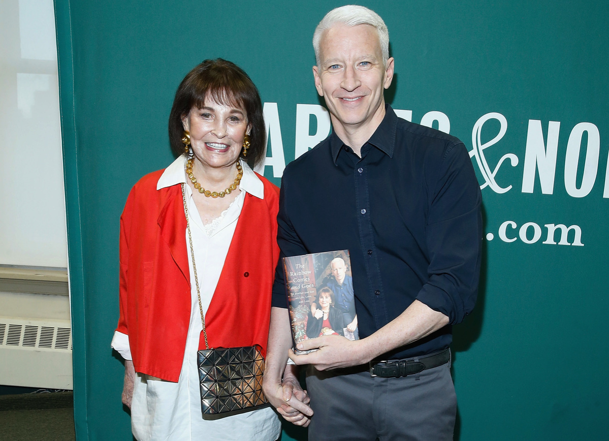 Gloria Vanderbilt and Anderson Cooper in conversation at Barnes & Noble Union Square on April 7, 2016 in New York City.
