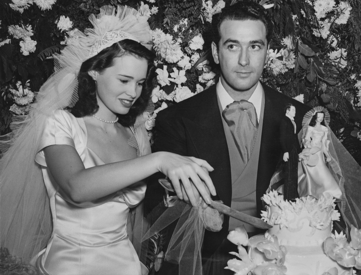 Gloria Vanderbilt, with her first husband, agent and movie producer Pat DiCicco at their wedding reception.