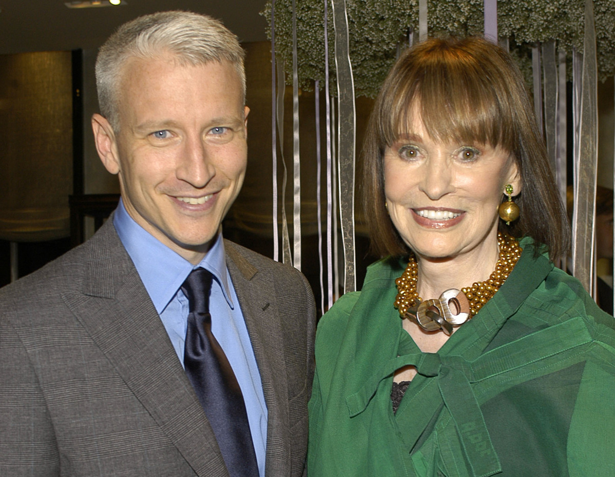 Anderson Cooper and Gloria Vanderbilt at the Tiffany Store in New York, New York.
