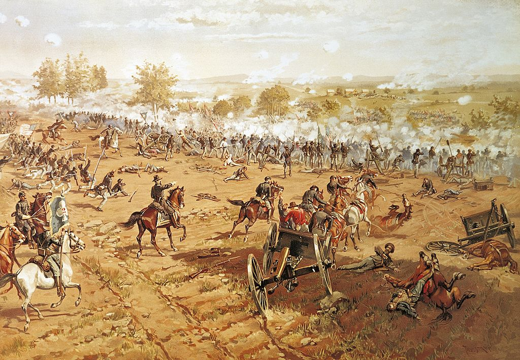 print of battle of gettysburg with soldiers on horses