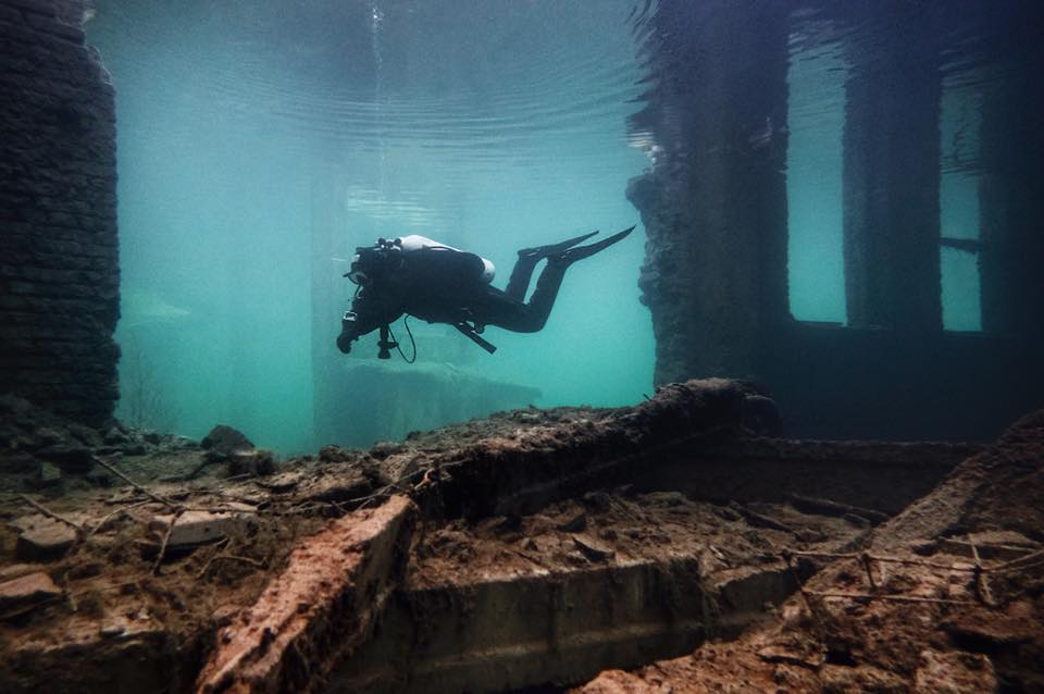 diving through ancient ruins