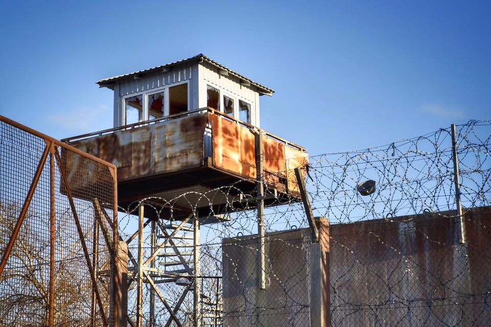 old rusted prison tower