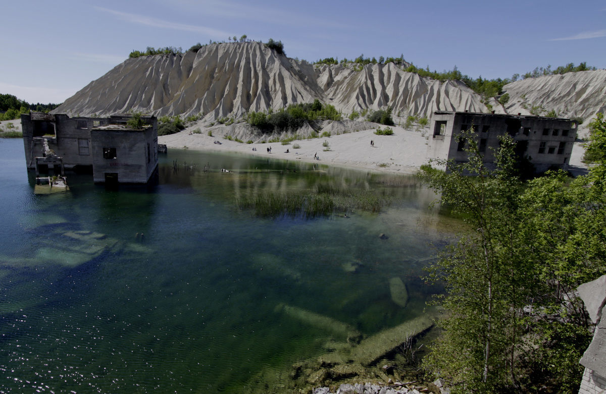 quarry submerged in water