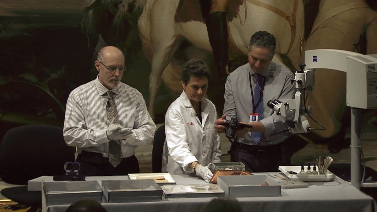 historians at boston museum of fine arts open time capsule