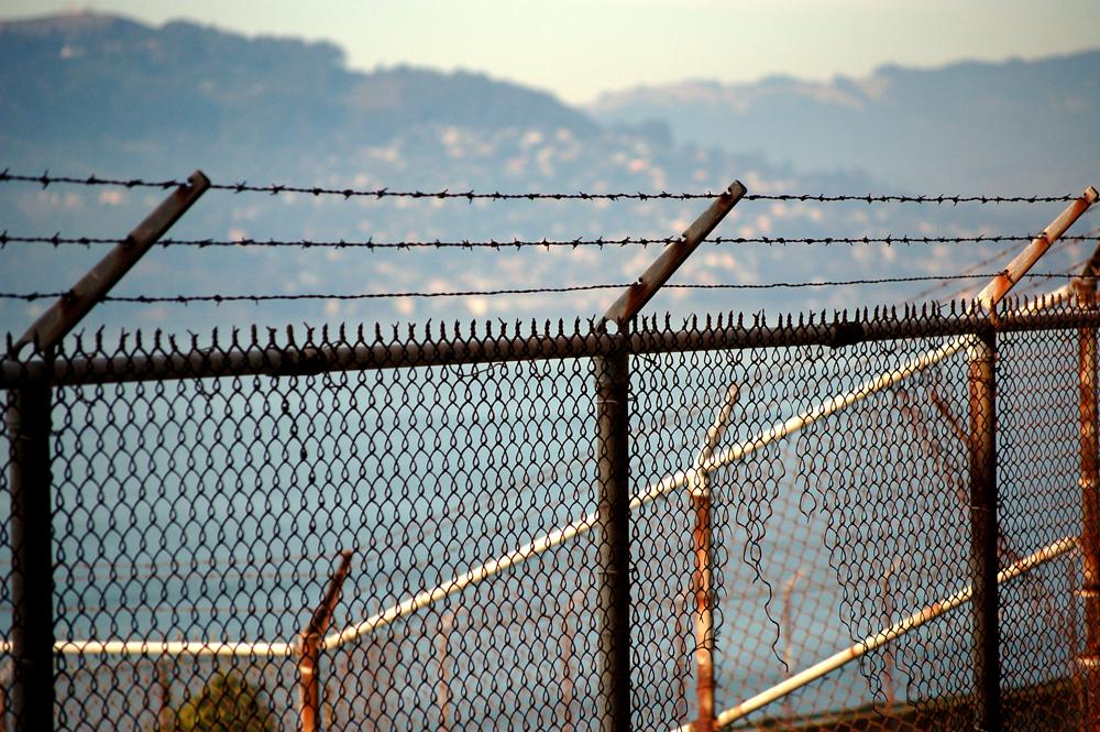 a fence at alcatraz