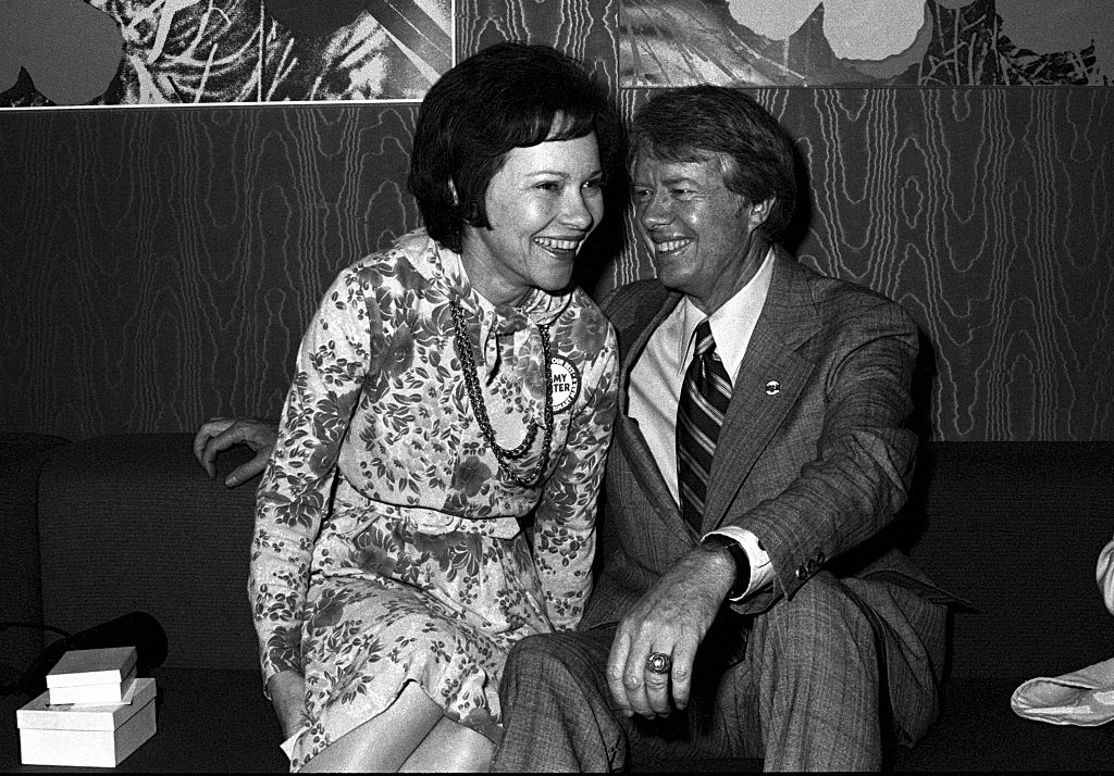 Jimmy Carter and Rosalynn Carter attend Former Governor of Georgia Jimmy Carter's fundraiser for his 1976 Presidential run at Royal Coach Inn Atlanta Georgia