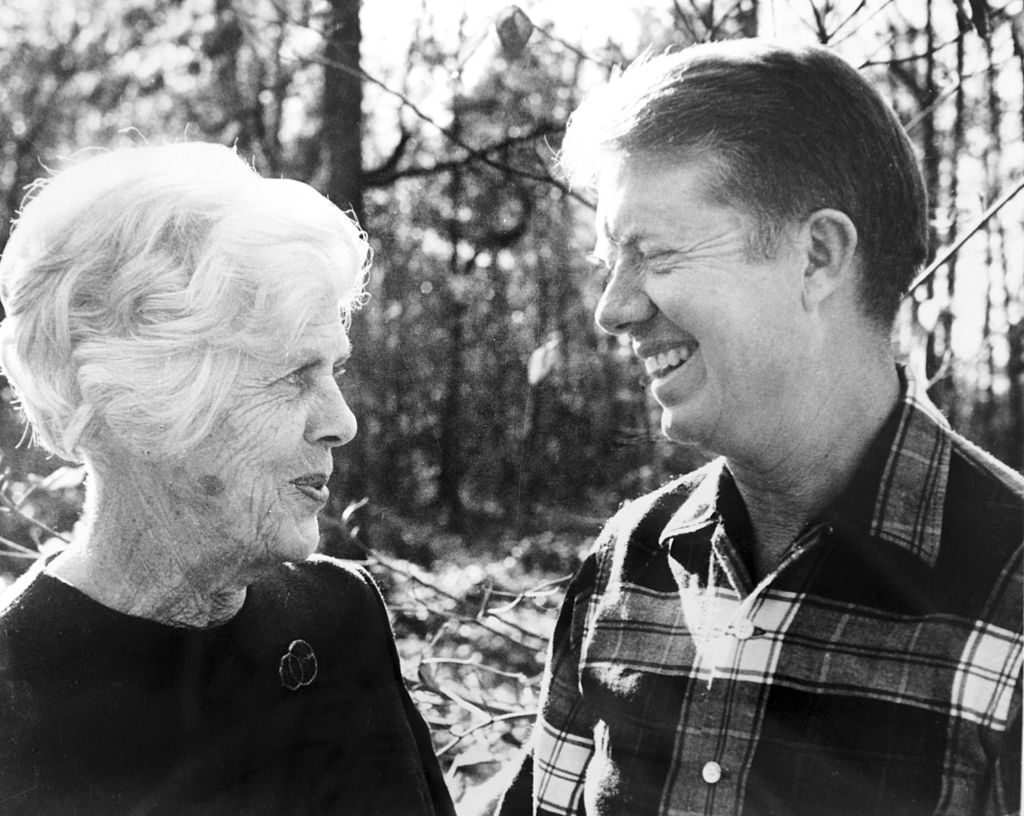 president Jimmy Carter poses with his mother, Lillian, Georgia, 1