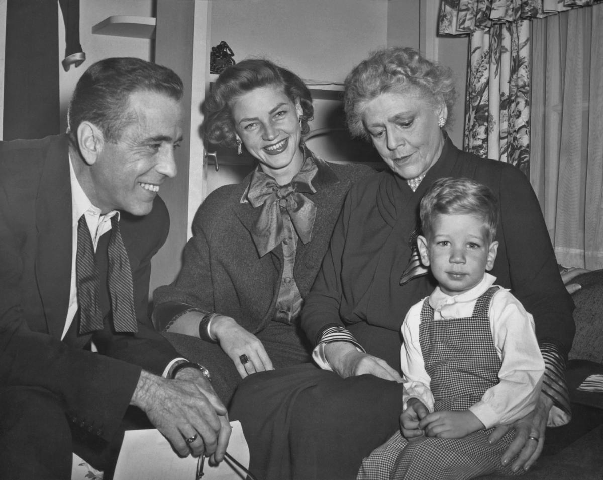 American actor Humphrey Bogart with wife Lauren Bacall, Ethel Barrymore and son Stephen Bogart in 1951.
