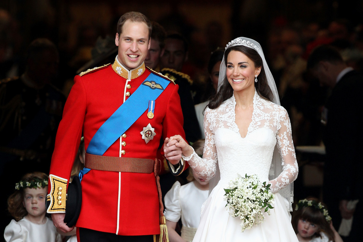 TRH Prince William, Duke of Cambridge and Catherine, Duchess of Cambridge smile following their marriage at Westminster Abbey on April 29, 2011 in London, England.