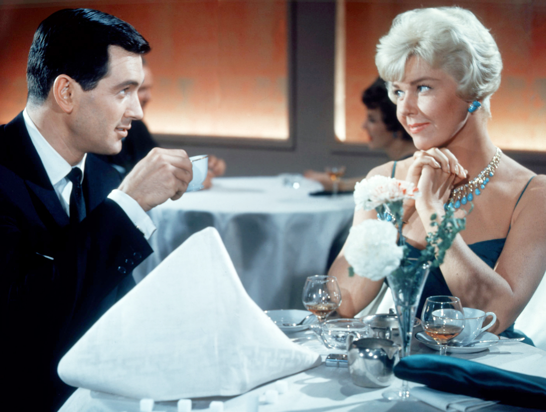 American actors Rock Hudson as Brad Allen, and Doris Day as Jan Morrow, in 'Pillow Talk', 1959.