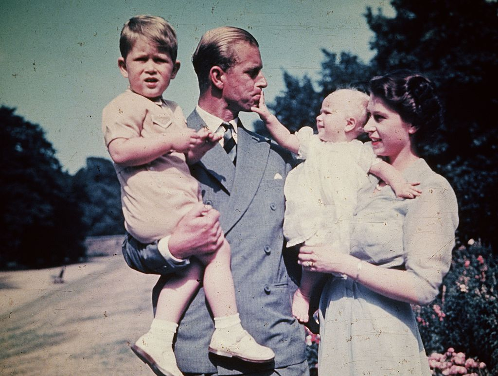 GettyImages-3428273 Princess Elizabeth with her husband Prince Philip Duke of Edinburgh and their children Prince Charles and Princess Anne.