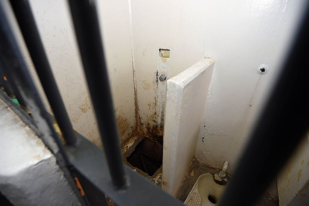 View of the shower and toilet in the Almoloya prison where Joaquin Guzman Loera