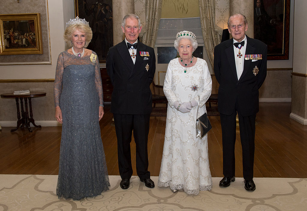 GettyImages-498962062 Camilla, Duchess of Cornwall, Prince Charles, Prince of Wales, Queen Elizabeth II and Prince Philip, Duke of Edinburgh pose as they attend a dinner at the Corinthia Palace Hotel
