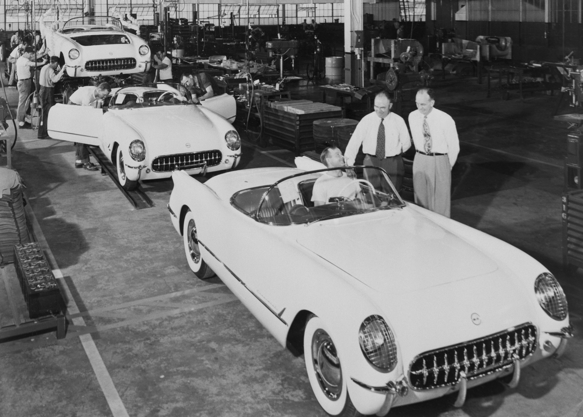 The very first Corvettes roll off the assembly line at the Chevrolet plant in Flint, Michigan. The Corvette was the first consumer automobile with an all-fiberglass body, originally selling for $3,250.