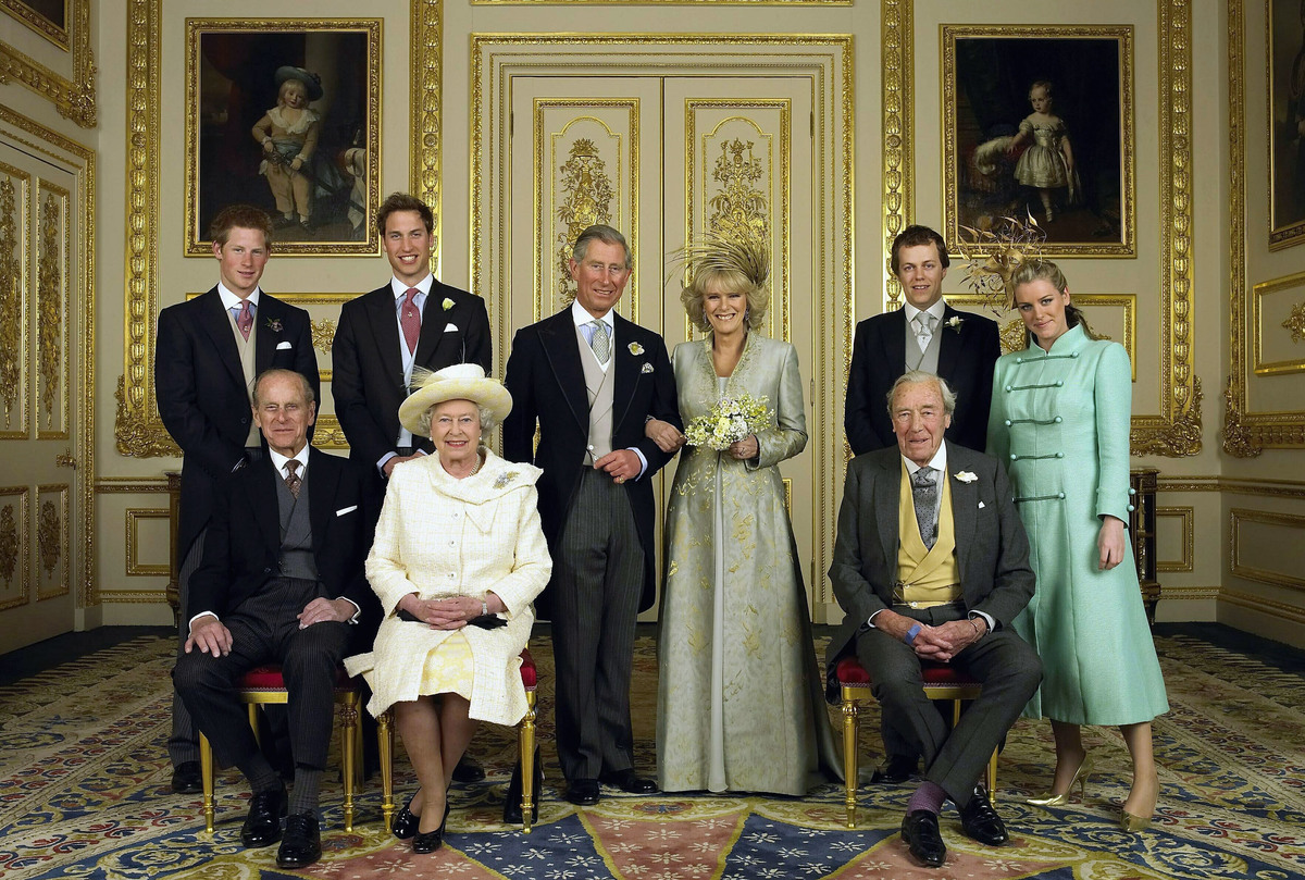 TRH Prince Charles, The Prince of Wales and The Duchess Of Cornwall, Camilla Parker-Bowles pose for the Official Wedding photograph with their children and parents