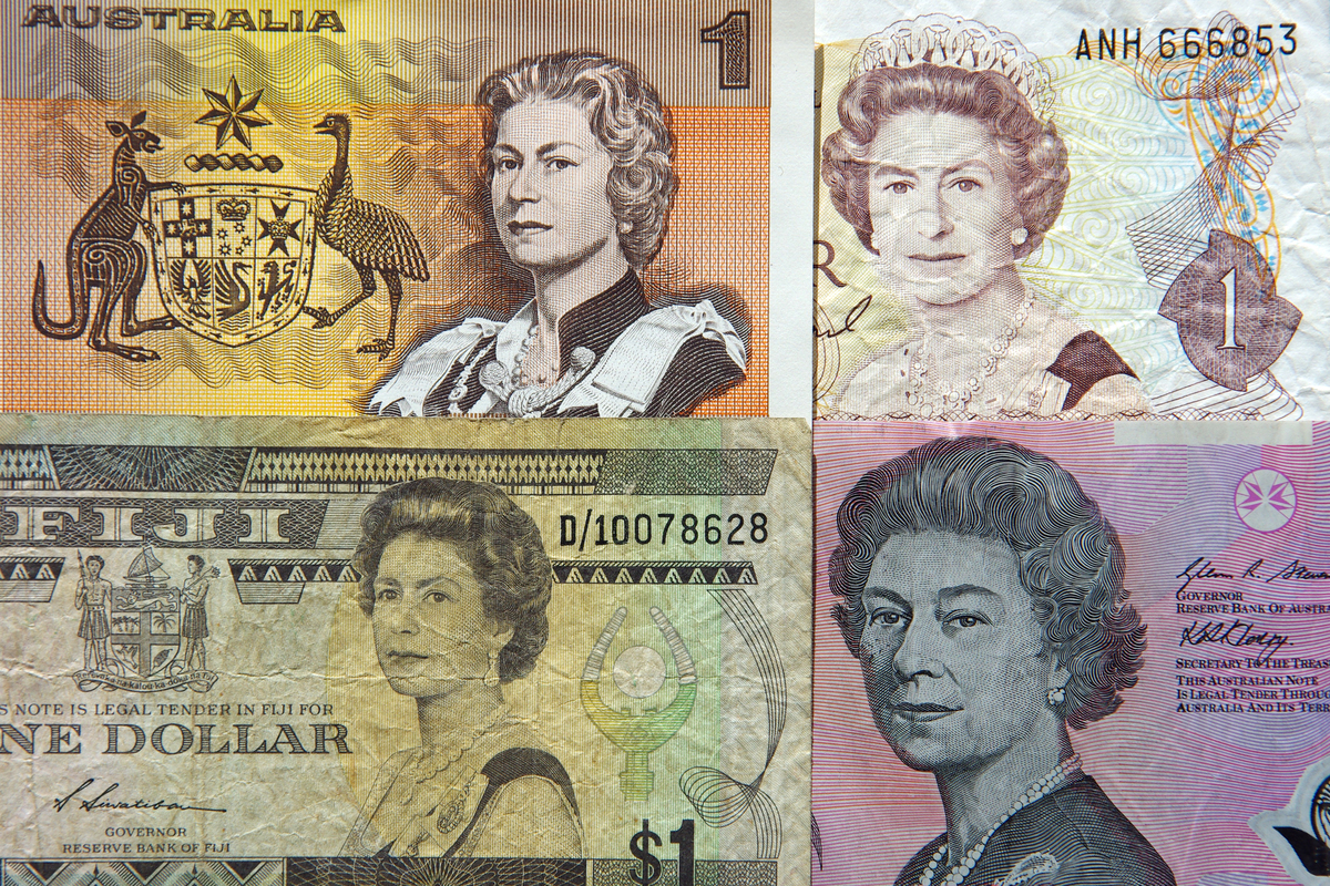 Portraits of Queen Elizabeth II on old one dollar ($1) paper banknotes of Australia, New Zealand and Fiji and on the current five dollar ($5) polymer banknote of Australia