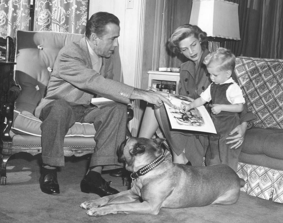 American actors Humphrey Bogart and Lauren Bacall with their son Stephen, at home in Los Angeles.