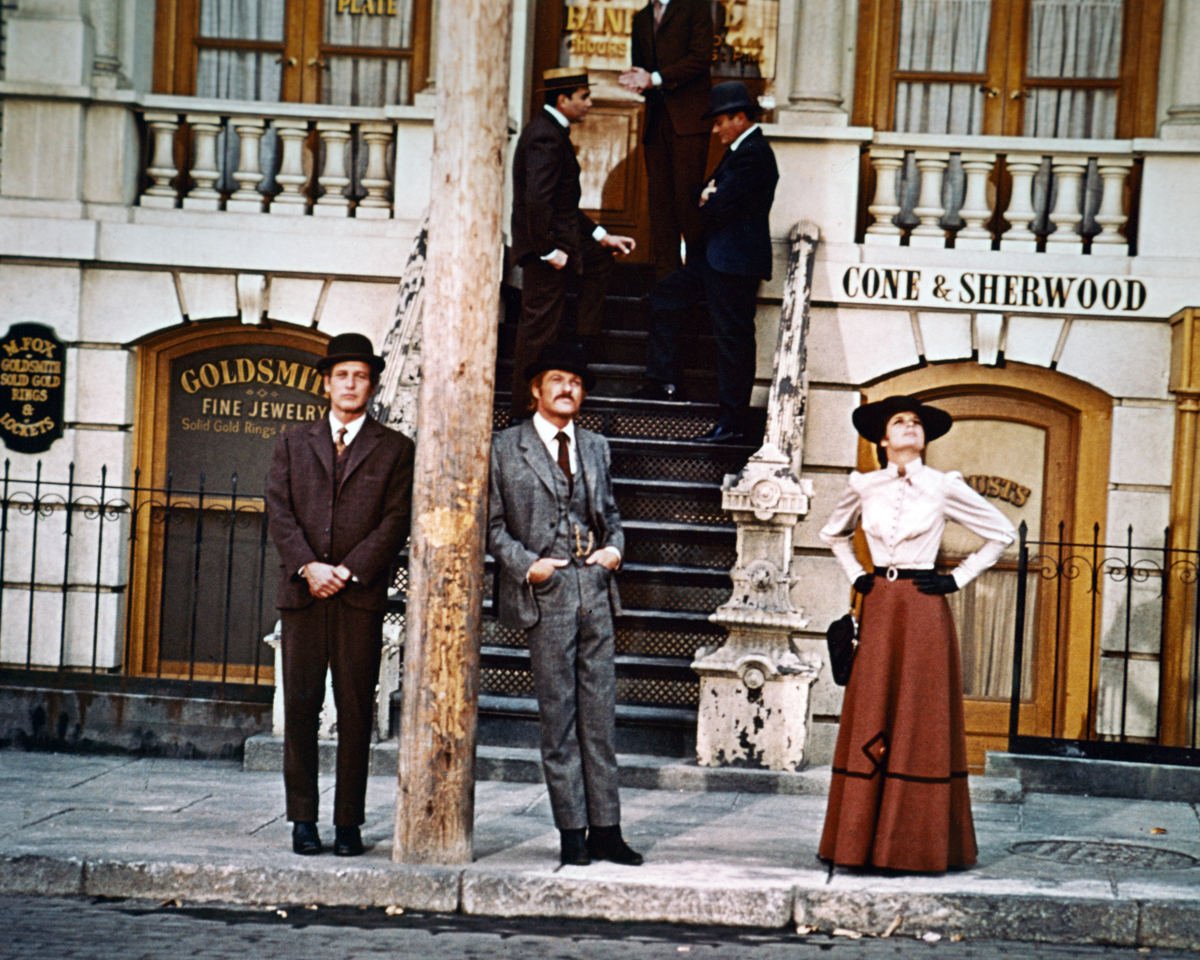 From left to right, Paul Newman as Butch Cassidy, Robert Redford as The Sundance Kid, and Katharine Ross as Etta Place in the film 'Butch Cassidy and the Sundance Kid', 1969.
