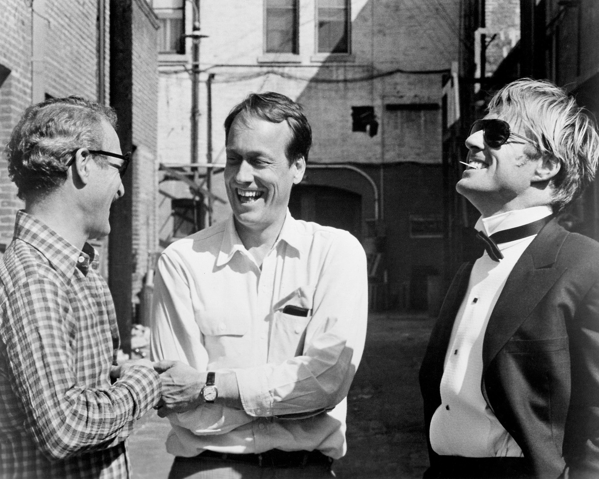 From left to right, actor Paul Newman, director George Roy Hill and actor Robert Redford on the set of 'The Sting', 1973.
