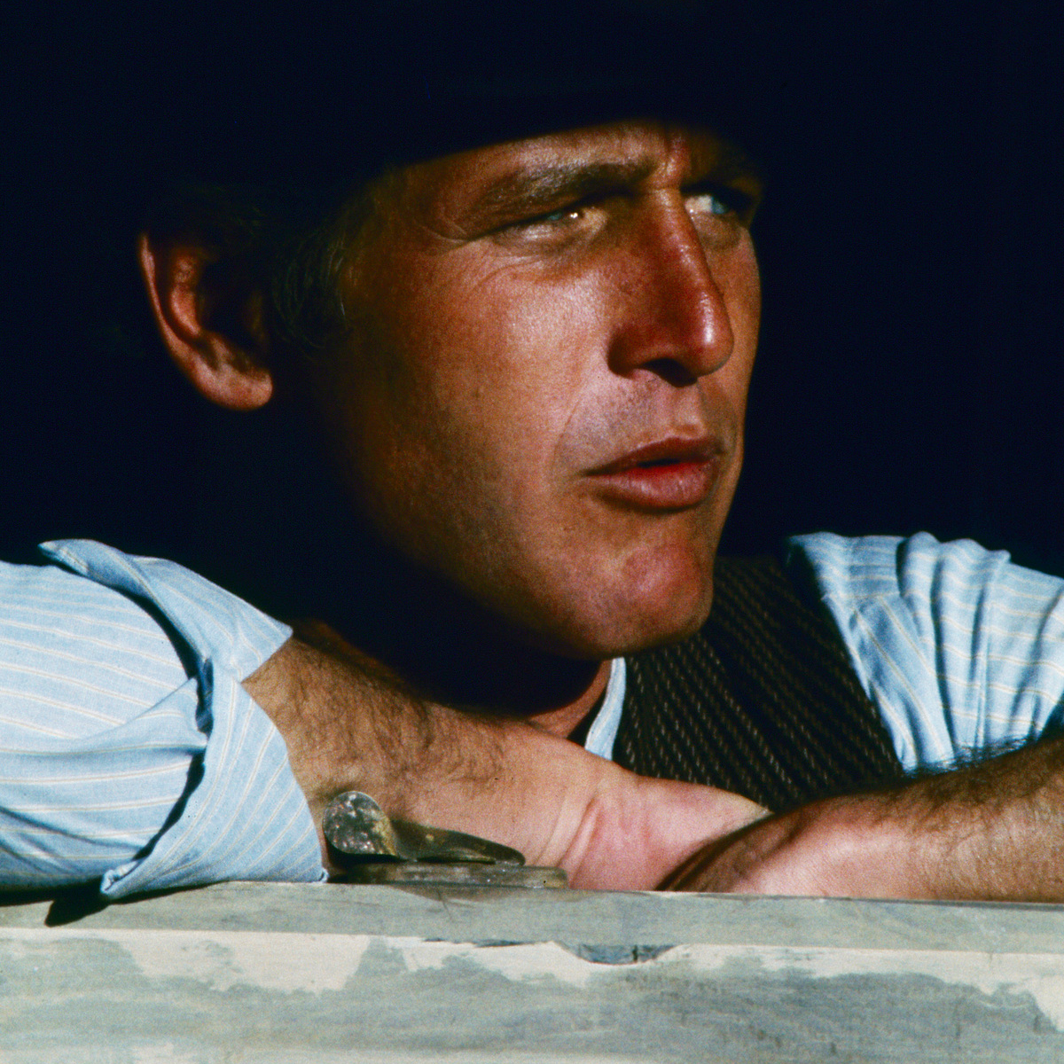 Close-up of American actor Paul Newman (1925 - 2008) (as Butch Cassidy) in a scene from 'Butch Cassidy and the Sundance Kid' (directed by George Roy Hill), 1968.