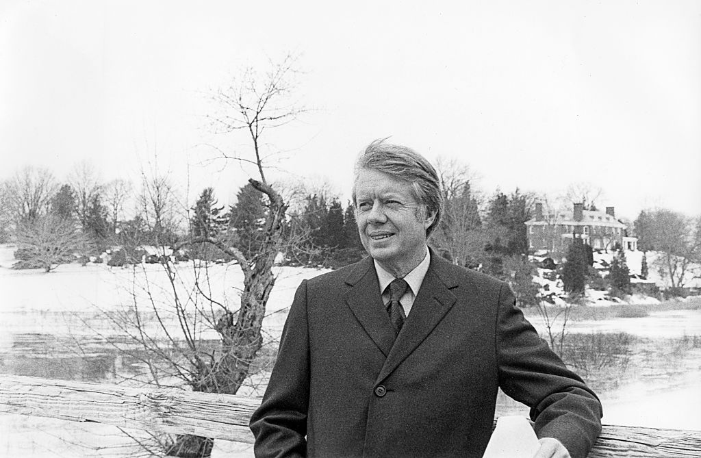 Portrait of American politician and US Presidential candidate Jimmy Carter on the North Bridge during campaign stop, Concord, Massachusetts,