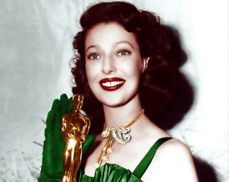 Loretta Young at the 1948 Academy Awards, colorized larger copy
