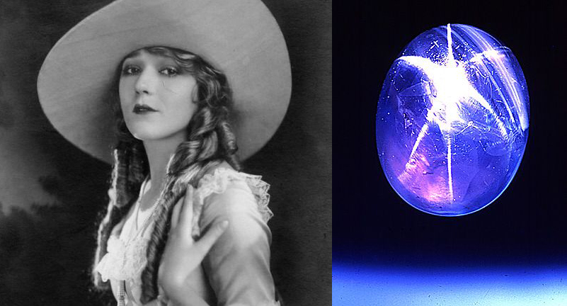 Mary Pickford and her Star of Bombay stone that she wore as a ring