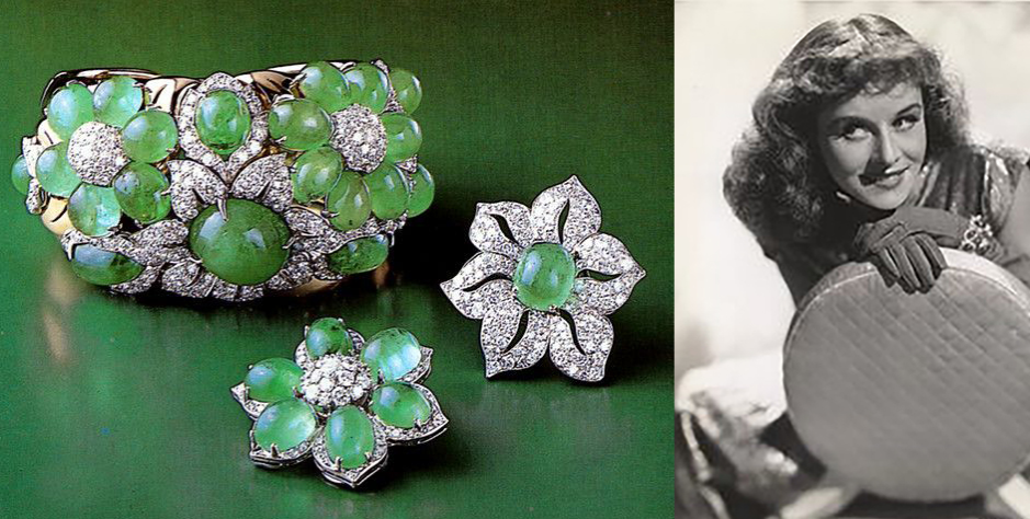 Paulette Goddard and her emerald and diamond earring-bracelet set