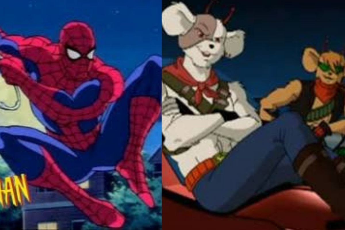 spiderman and biker mice from mars side by side