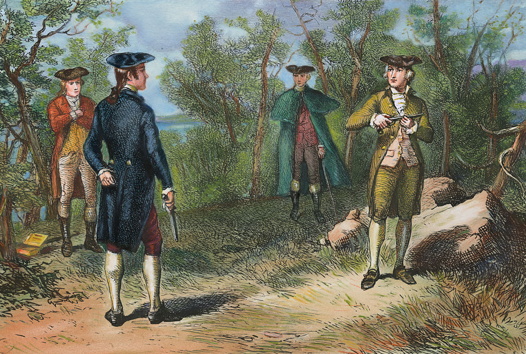 colored illustration of alexander hamilton duel with aaron burr