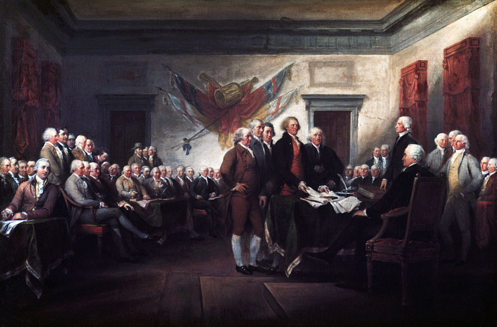 portrait of u.s. founding fathers signing the declaration of independence