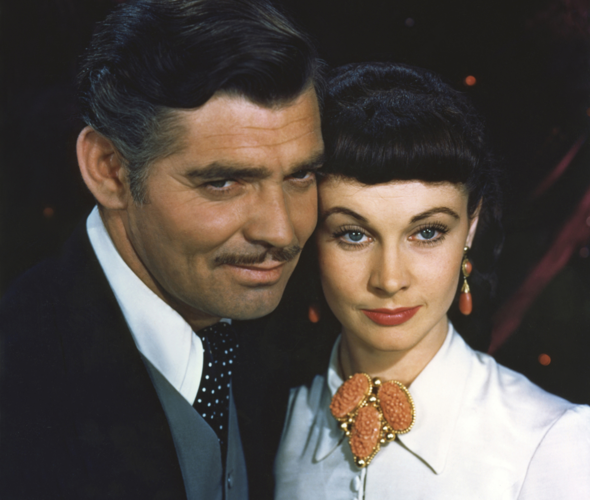 American actor Clark Gable and British actress Vivien Leigh on the set of Gone with the Wind, 1939