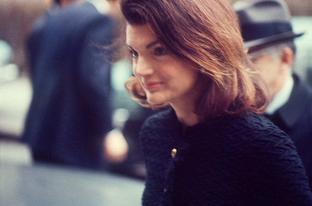 a close-up of jackie kennedy on the street