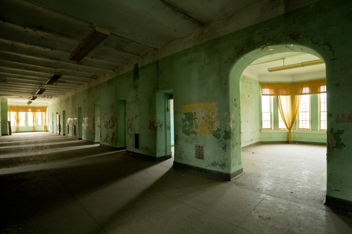 Corridor in the abandoned Athens Lunatic Asylum