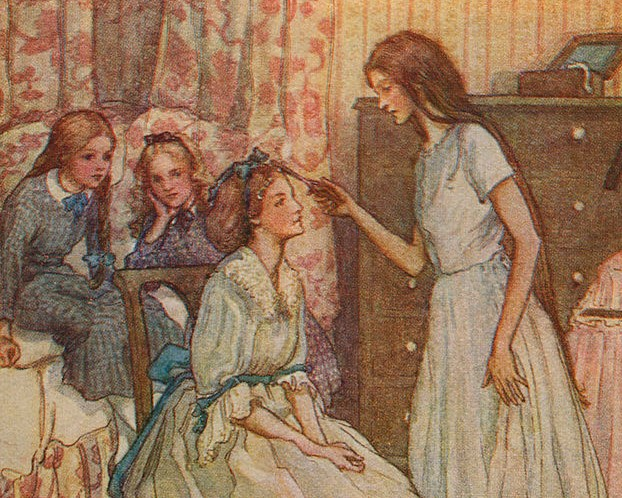 All four Alcott sisters are painted together, with little May leaning her head in her hand in the background.
