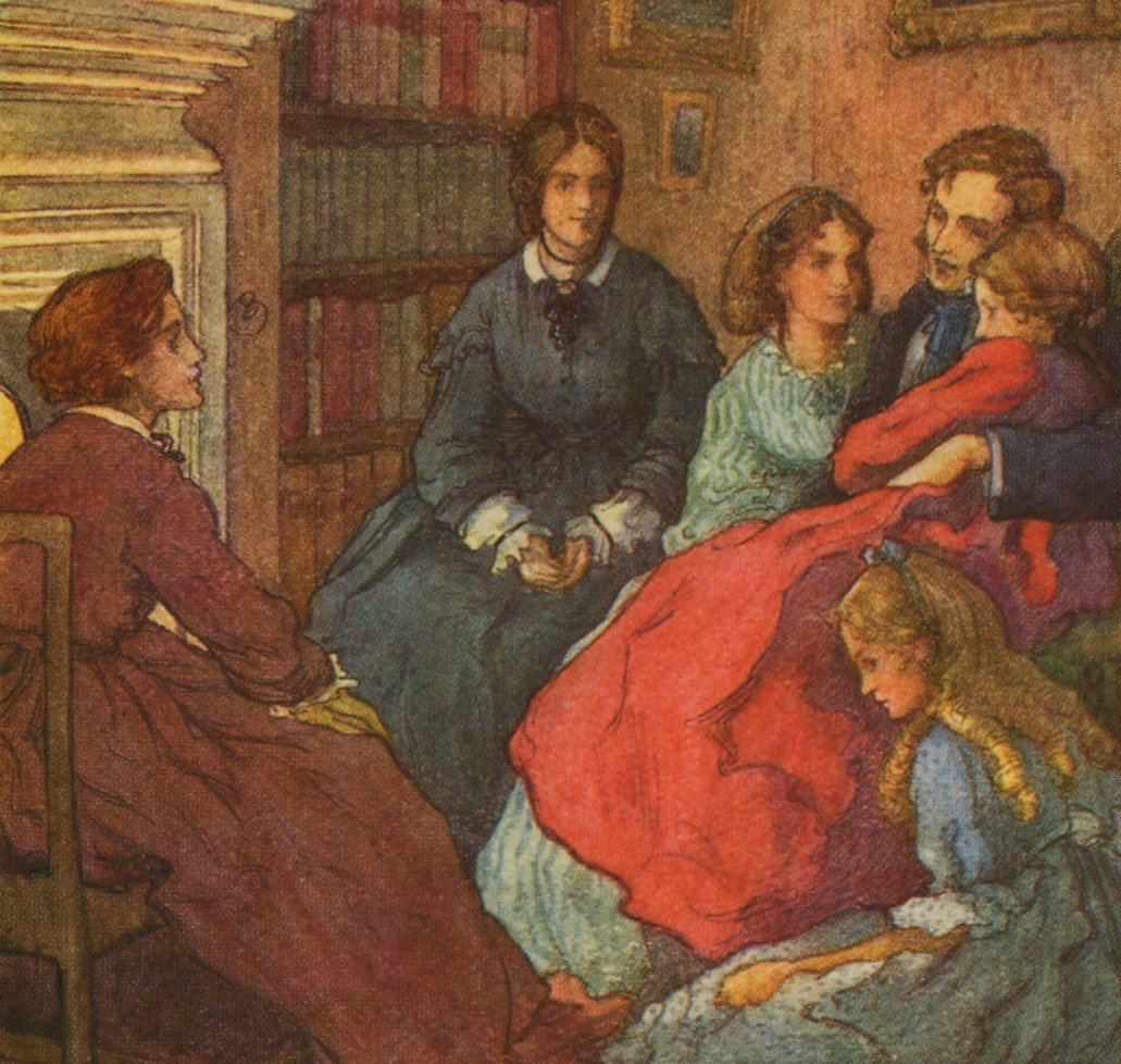A painting shows the family in Little Women, gathered and holding on to the father.