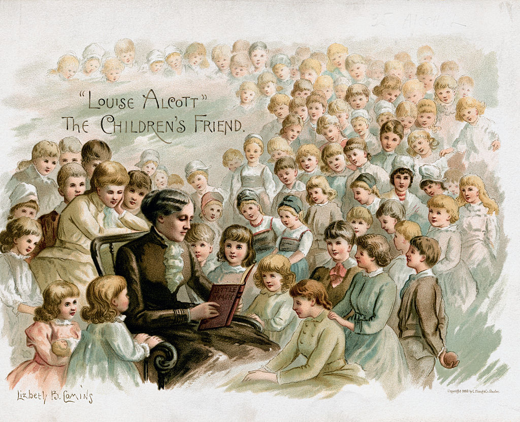 A color drawing shows Louisa seated and reading Little Women to a sea of children who surround her.