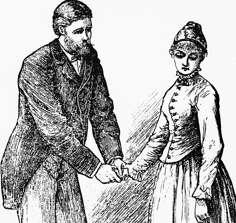 An illustration for Little Women shows and older man holding the hand of a younger girl, while looking at her with concern.