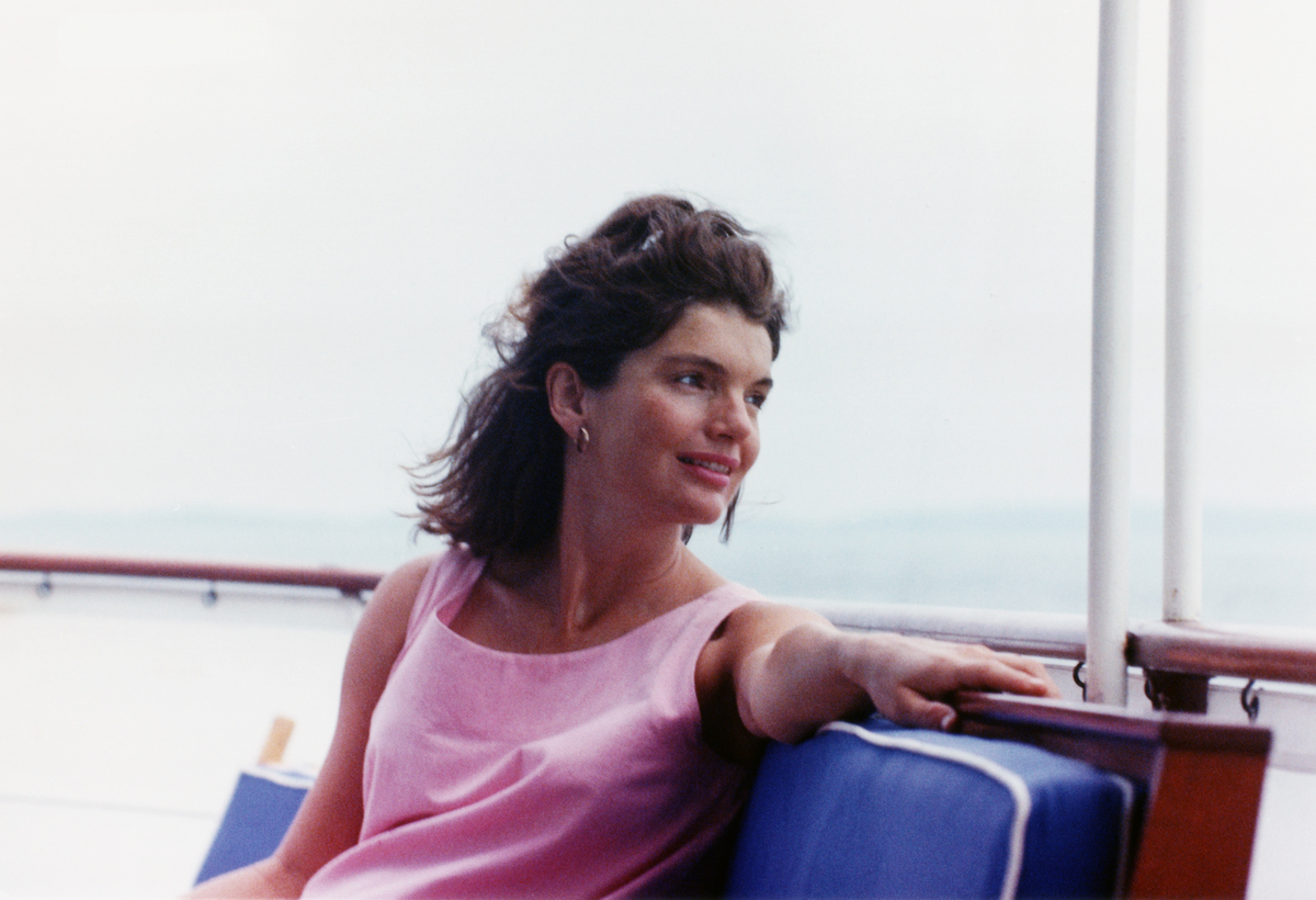 Jacqueline Kennedy on a yacht, just before the premature birth of Patrick J. Kennedy.