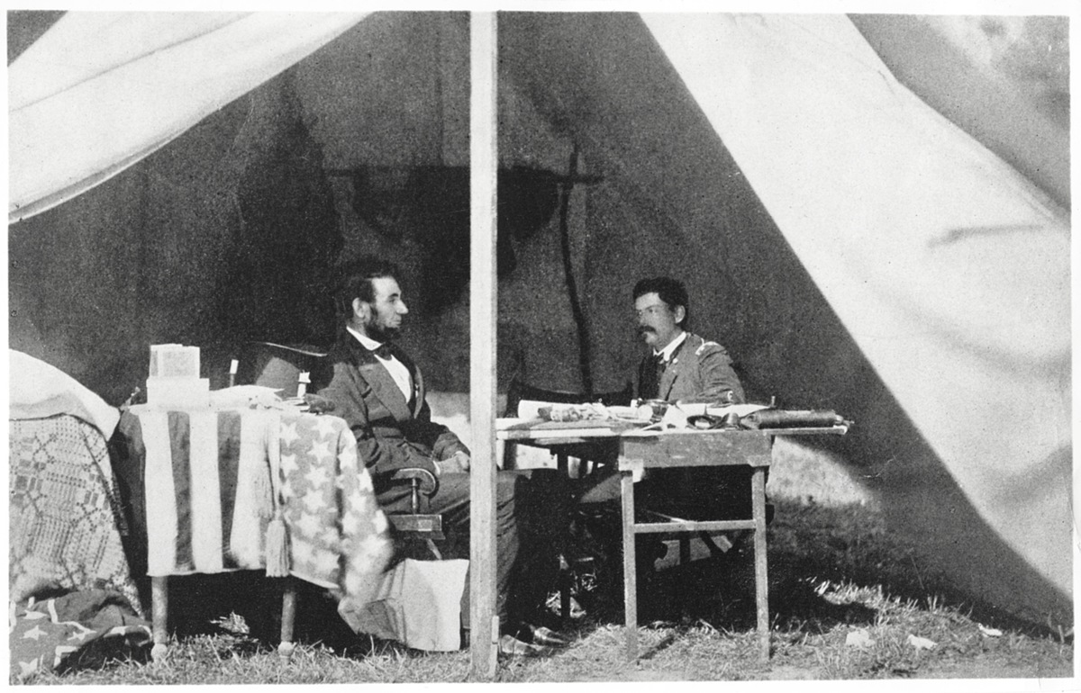 U.S. President Abraham Lincoln, General George B.McClellan, after Battle of Antietam, Maryland, USA, Matthew Brady, 3 Oct 1862.