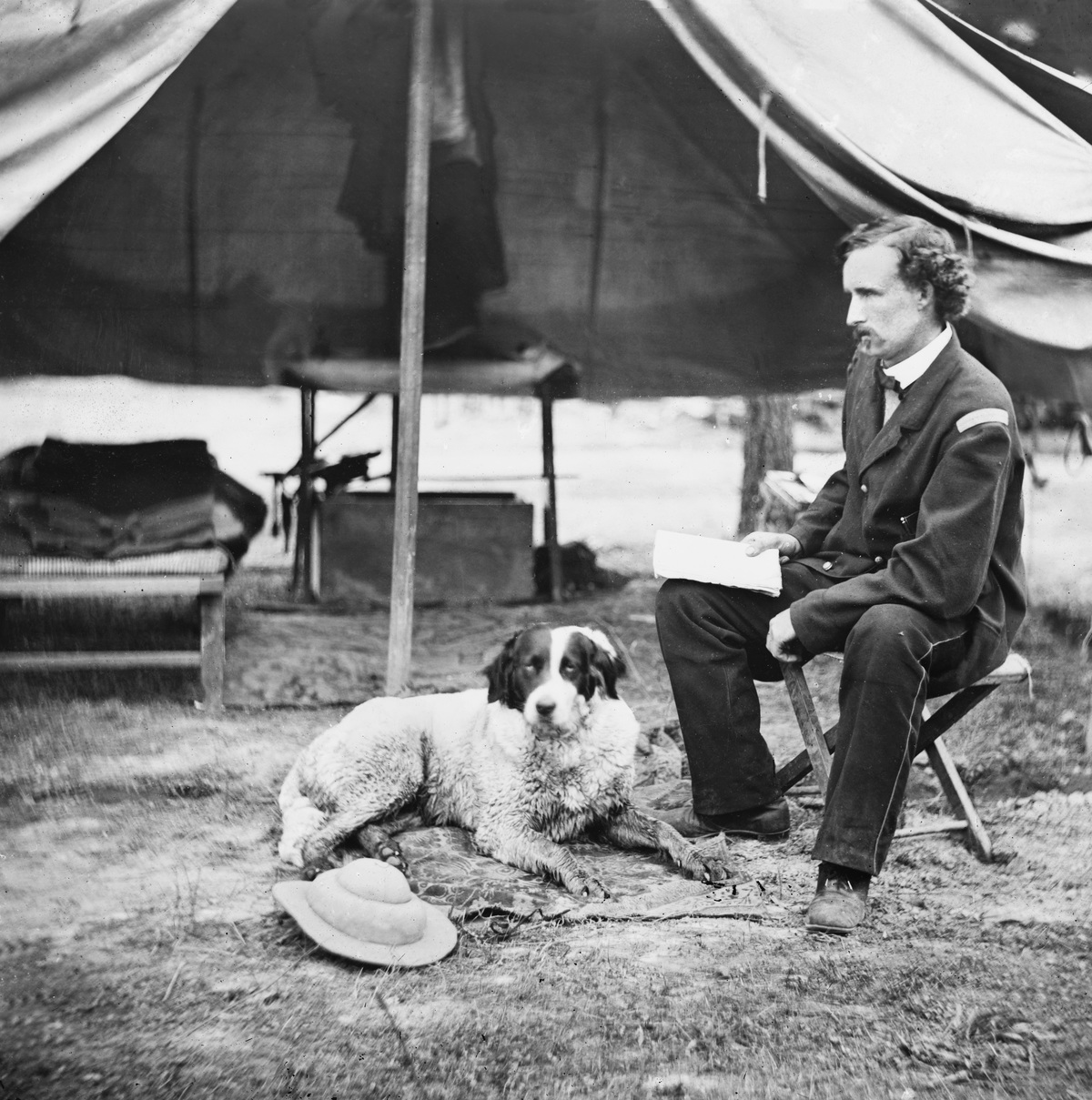 Lieutenant George A. Custer with Dog, Peninsula Campaign, Virginia, USA, 1862.
